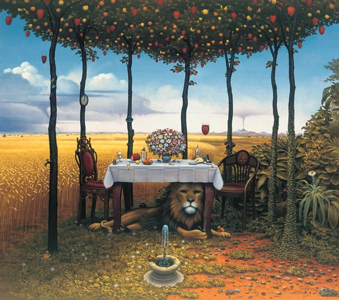 Popoludnie lwa, The lion's afternoon, jacek yerka картины,