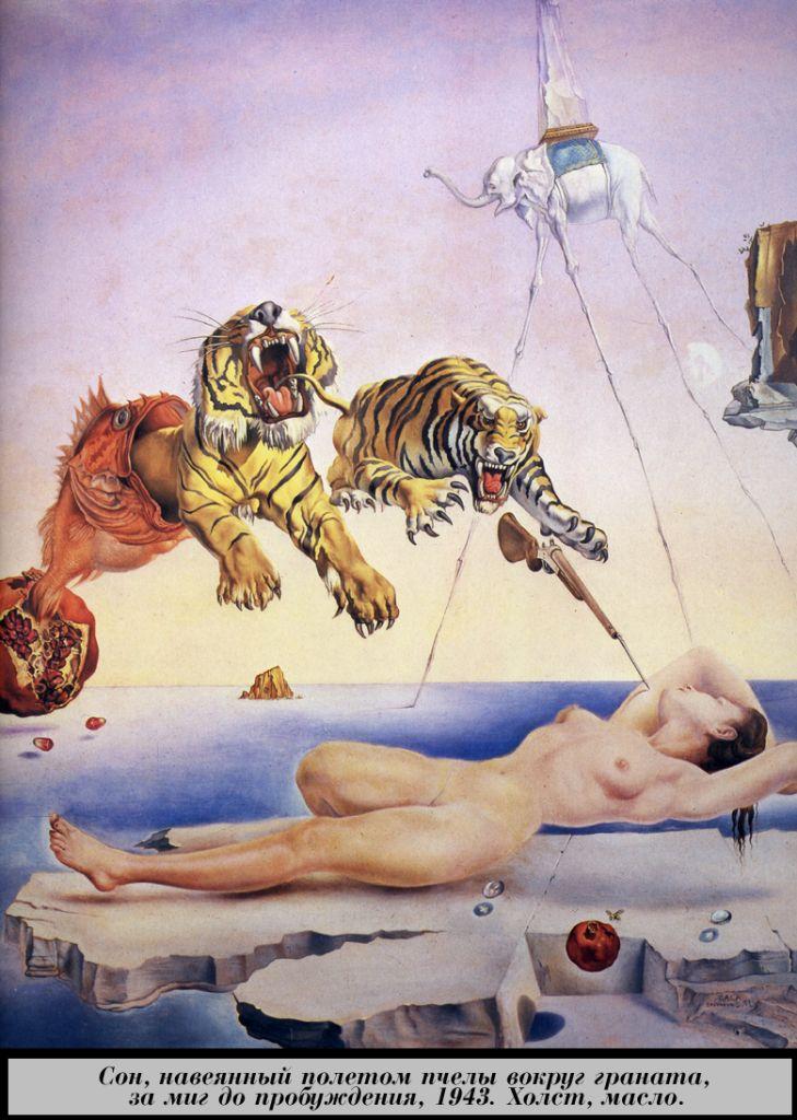 Сальвадор Дали, картина Сон, навеянный полётом пчелы вокруг граната, за миг до пробуждения (1943), сюрреалистические картины, сюрреализм