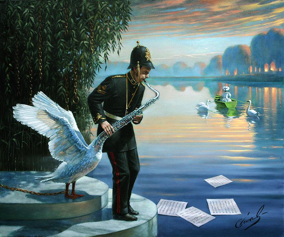 Swansophone Elegy, Михаил Хохлачев, картины, художники сюрреалисты