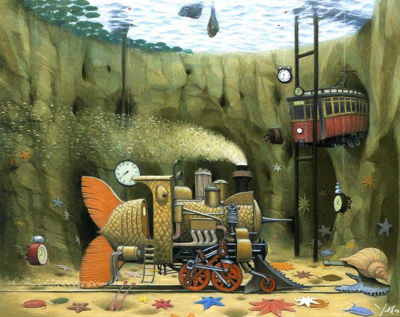 Подводное такси, 2003 пастель, Яцек Йерка, картины