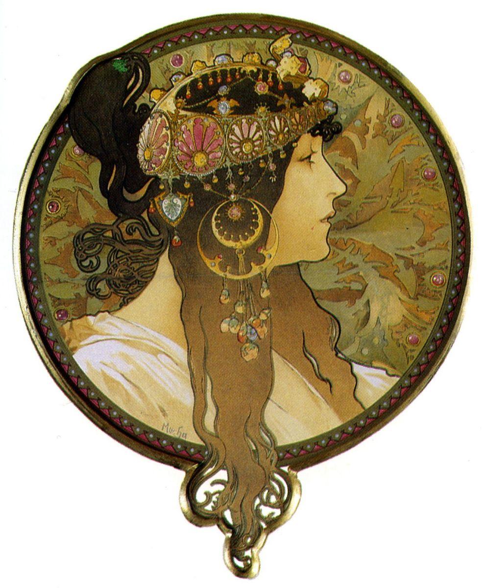 Голова византийки - брюнетка