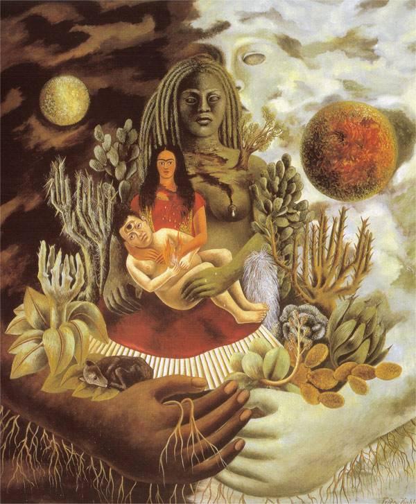 Фрида Кало, картины, Дружеские объятия Вселенной, Я, Диего и Сеньор Холотль