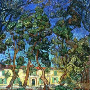 Деревья в саду больницы Сен-Поль