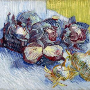Натюрморт с краснокочанной капустой и луком