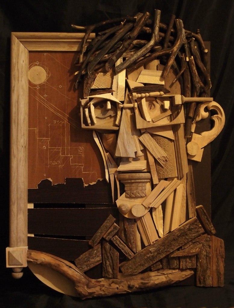 портрет из деревяшек