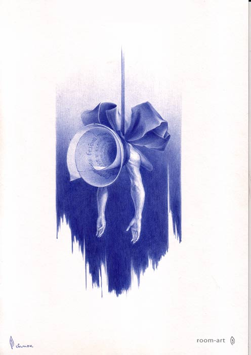 картины шариковой ручкой, сюрреалистические картины