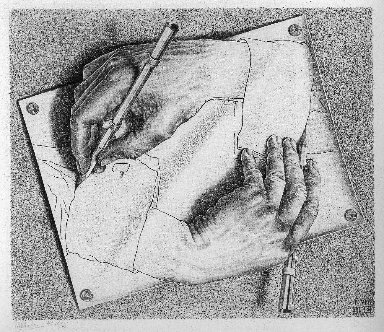графика Эшера Маурица Корнелиса, рисующие друг друга руки