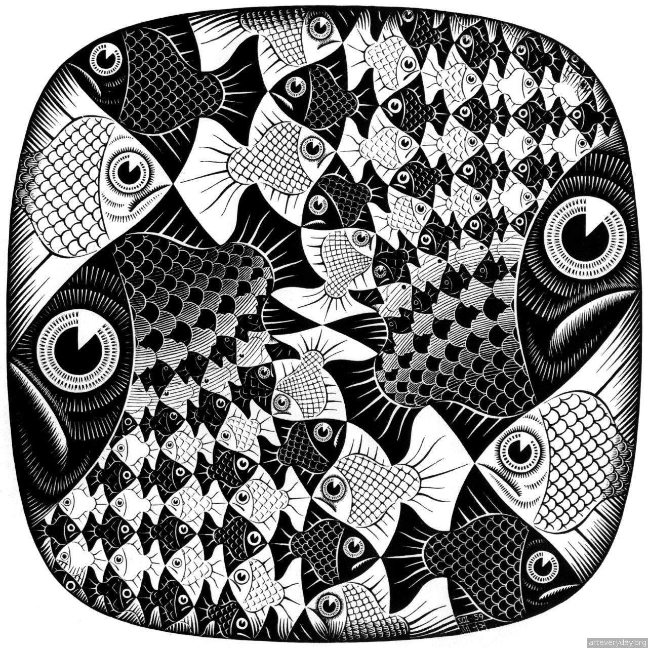 Эшер Мауриц Корнелис, графика, мозаика рыбы