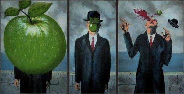 Пародия на картину сын человеческий, Рене Магритт, художники, сюрреализм