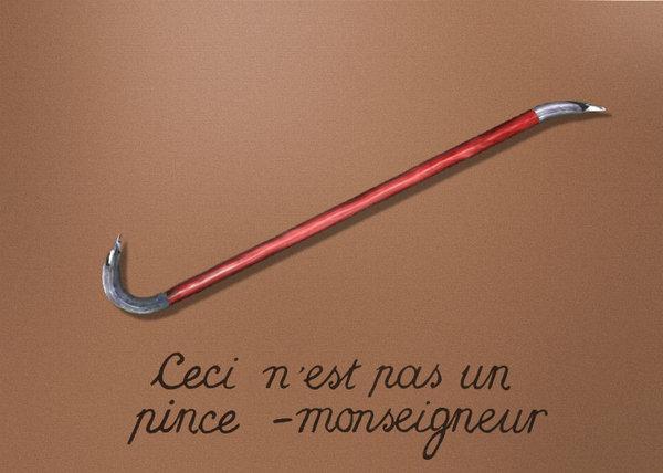 Это не монтировка, пародия на картину Рене Магритта - это не трубка или вероломство образов