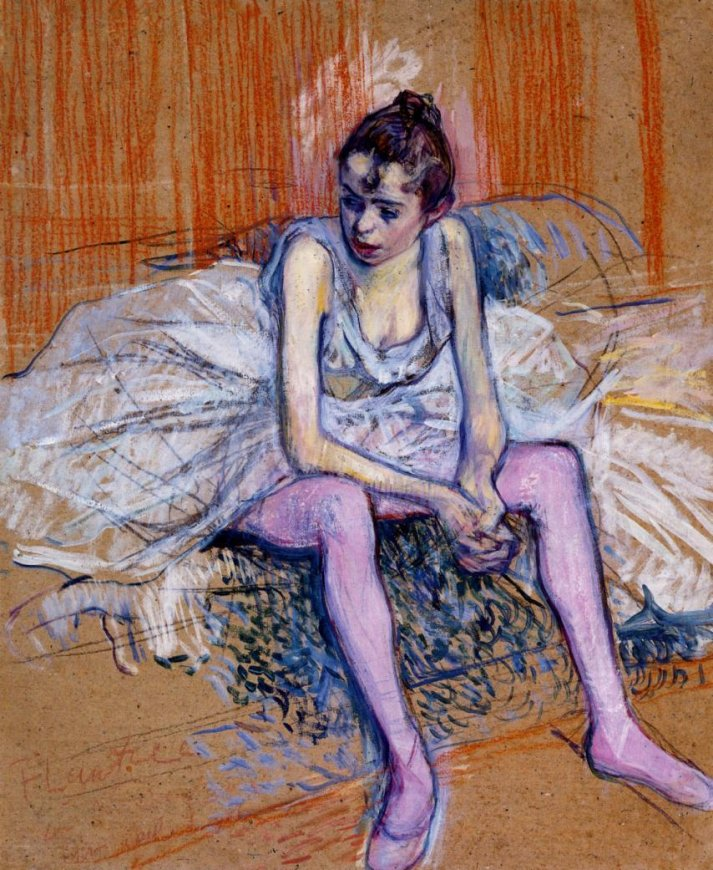 Картина Анри де Тулуз Лотрека, Сидящая балерина в розовых колготках