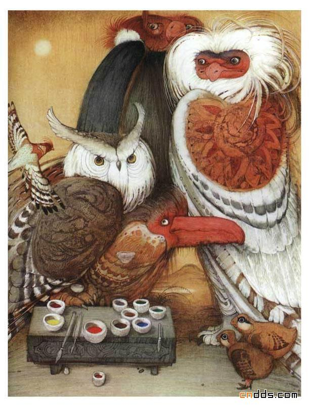 Кирилл Челушкин, японские сказки, иллюстрации, совы