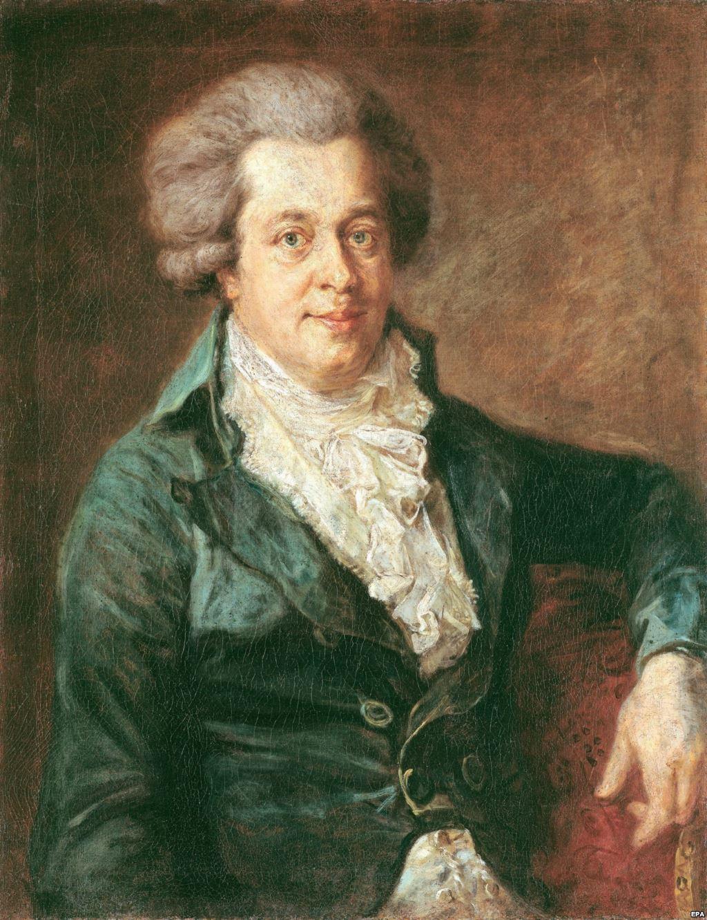 Прижизненный портрет Моцарта Вольфганга Амадея, художник Йохан Георг Эдлингер, 1790 год